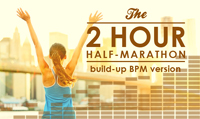 Running music mix entitled 2 Hour 1/2 Marathon (Builds) from Rock My Run